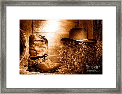 The Old Boots - Sepia Framed Print