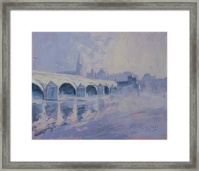 The Old Bridge Of Maastricht In Morning Fog Framed Print by Nop Briex