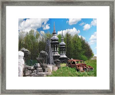The Old Car At The Dragon Gate Framed Print by The Hybryds