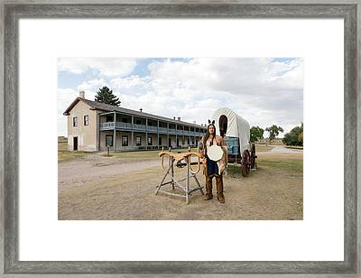 Framed Print featuring the photograph The Old Cavalry Barracks At Fort Laramie National Historic Site by Carol M Highsmith