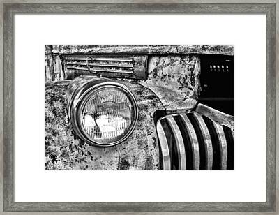 The Old Chevy Truck Black And White Framed Print