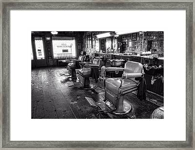 The Old City Barber Shop In Black And White Framed Print