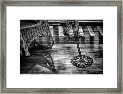 The Old-fashioned Porch - Black And White Framed Print by Mitch Spence