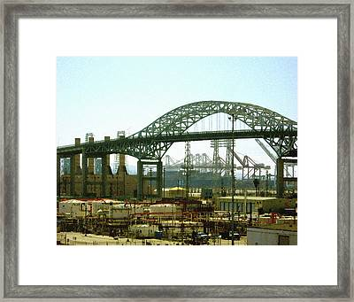 The Old Gerald Desmond Bridge Framed Print by Timothy Bulone