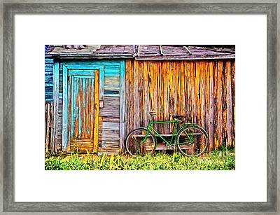 The Old Green Bicycle Framed Print by Edward Fielding