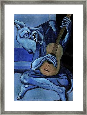 The Old Guitar Dog Framed Print by Bizarre Bunny