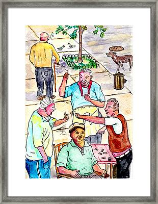 The Old Italian Men Up The Block Framed Print by Philip Bracco
