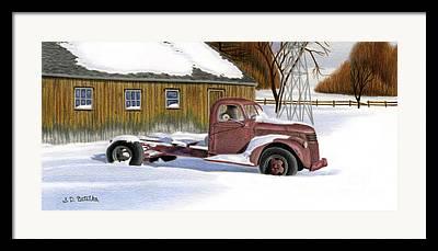Snow Landscape Drawings Framed Prints