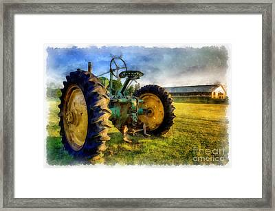 The Old John Deere Tractor Framed Print by Edward Fielding