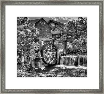 The Old Mill B W The Pigeon Forge Mill Art Great Smoky Mountains Art Framed Print by Reid Callaway
