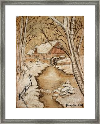 The Old Mill By George Perry Wood 1941 Framed Print by Karen Adams