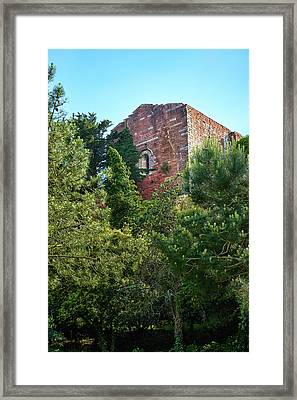 The Old Monastery Of Escornalbou Surrounded By Trees In Spain Framed Print