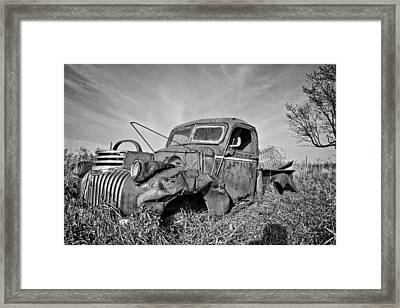 The Old Pickup Bnw Framed Print