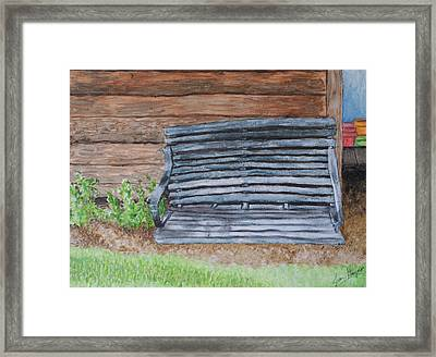 Framed Print featuring the painting The Old Porch Swing by Jean Haynes