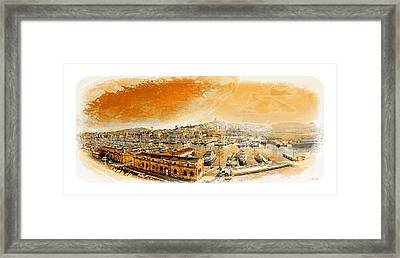 The Old Port Of Marseille,sixties Border Framed Print