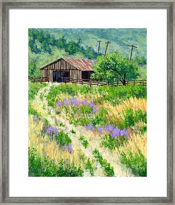 The Old Road To The Old Shed Framed Print