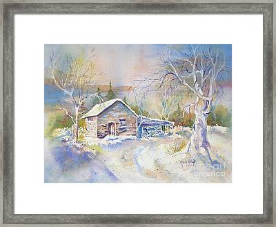 Framed Print featuring the painting The Old Shed by Mary Haley-Rocks