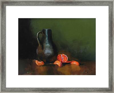 The Old Stoneware Mug Framed Print by Barry Williamson