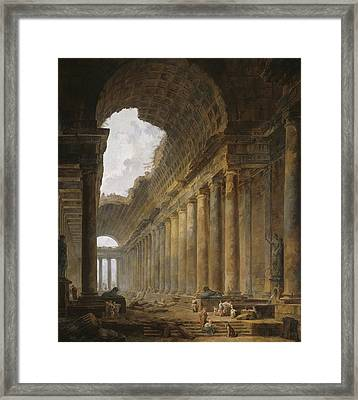 The Old Temple Framed Print by Hubert Robert