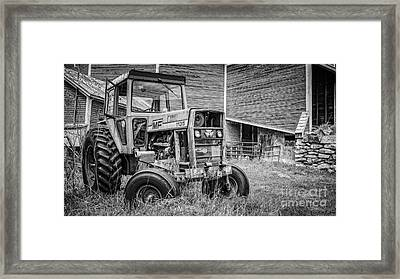 The Old Tractor By The Old Round Barn Framed Print by Edward Fielding