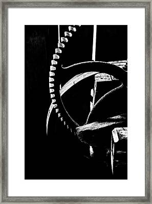 The Old Wheel In Black And White Framed Print