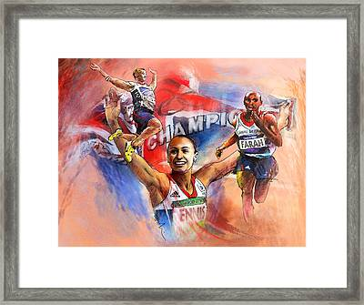 The Olympics Night Of Gold Framed Print by Miki De Goodaboom