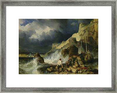 The Onslaught Of The Smugglers Framed Print by Louis Eugene Gabriel Isabey
