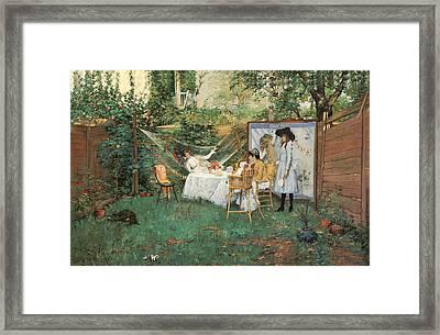 The Open Air Breakfast Framed Print by William Merritt Chase