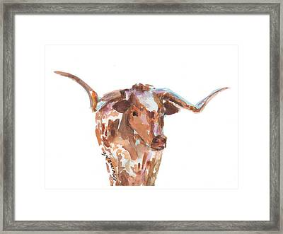 The Original Longhorn Standing Earth Quack Watercolor Painting By Kmcelwaine Framed Print by Kathleen McElwaine