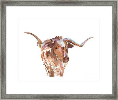 The Original Longhorn Standing Earth Quack Watercolor Painting By Kmcelwaine Framed Print