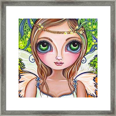 The Original wattle Fairy Painting Framed Print by Jaz Higgins