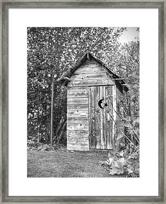 The Outhouse Bw Framed Print