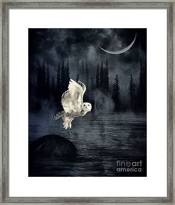 The Owl And Her Mystical Moon Framed Print by Heather King