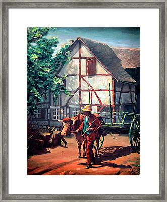 The Ox Cart Framed Print by Hanne Lore Koehler