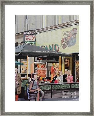 The Oyster Cafe Framed Print by Malcolm Warrilow