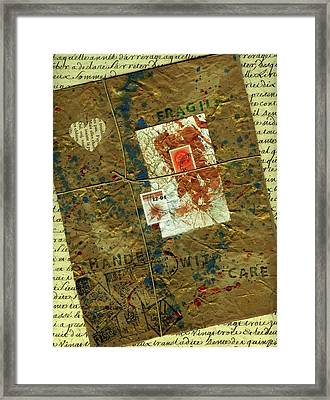 Framed Print featuring the mixed media The Package by P J Lewis