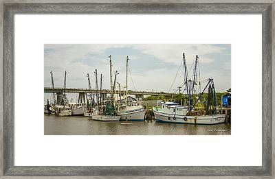 The Paddler Tybee Island Shrimp Boats Framed Print by Reid Callaway
