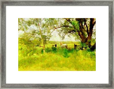 Framed Print featuring the painting The Paddock by Valerie Anne Kelly