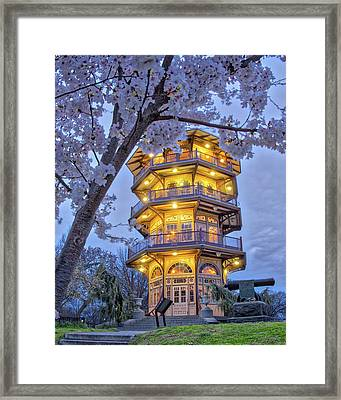 Framed Print featuring the photograph The Pagoda In Spring At Blue Hour by Mark Dodd