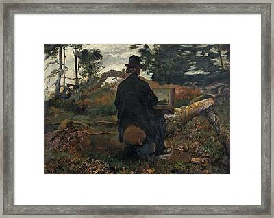 The Painter Frederik Hendrik Kaemmerer At Work In Oosterbeek Framed Print by Jacob Maris