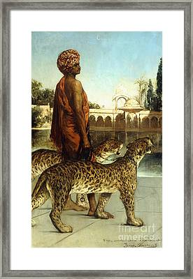 The Palace Guard With Two Leopards Framed Print by Jean Joseph Benjamin Constant