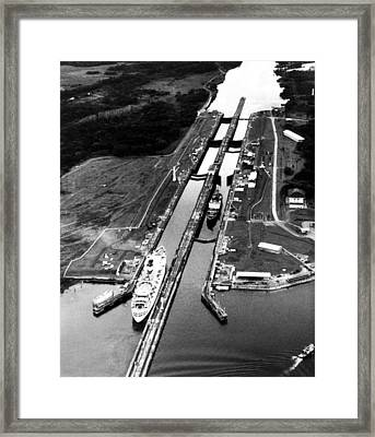 The Panama Canal, A Cruise Ship Moves Framed Print
