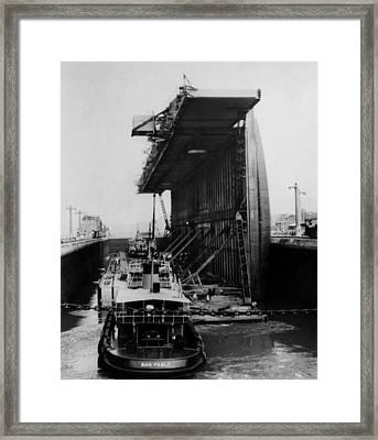 The Panama Canal, A U.s. Navy Floating Framed Print
