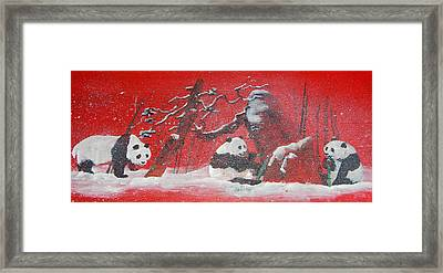 Framed Print featuring the painting The Pandas Come On Red by Debbi Saccomanno Chan