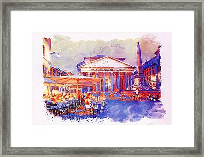 The Pantheon Rome Watercolor Streetscape Framed Print by Marian Voicu