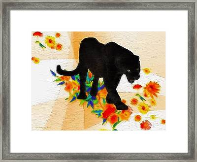 The Panther In The Flowerbed Framed Print