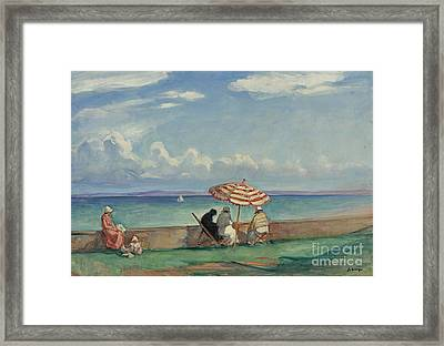 The Papasol On The Terrace Of Morgat Framed Print by MotionAge Designs
