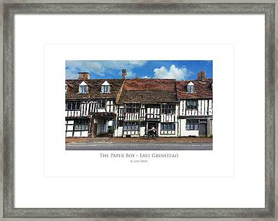 Framed Print featuring the digital art The Paper Boy - East Grinstead by Julian Perry