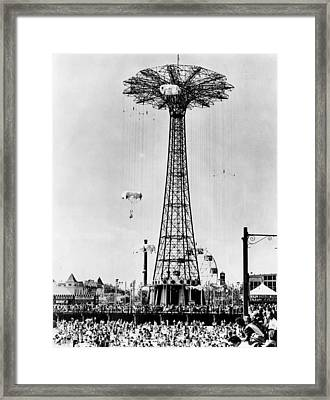 The Parachute Jump At Steeplechase Park Framed Print by Everett