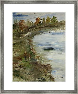The Park Around The Lake Framed Print by Edward Wolverton
